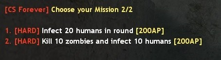 Zombie Plague Missions System Menu