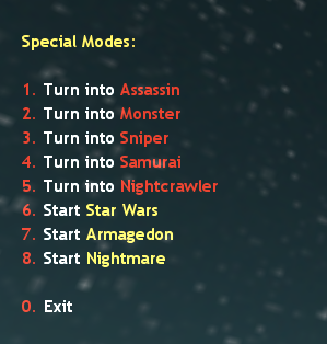 Special Modes Menu Counter Strike