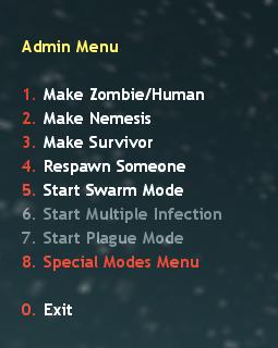 Special Modes Menu in Zombie Plague Menu